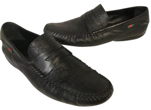 Gucci Gucci Mens Loafers Signature Leather Gg Monogram Sz 14.5 Black Formal Shoes