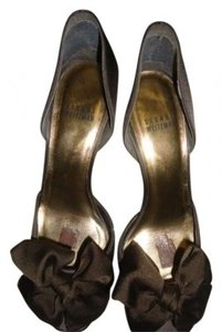 Stuart Weitzman Satin Bow D' Orsay Style Dressy Satin Designer Chocolate Brown Pumps