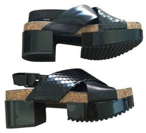 Robert Clergerie Platform Snake Leather Cork Black Sandals