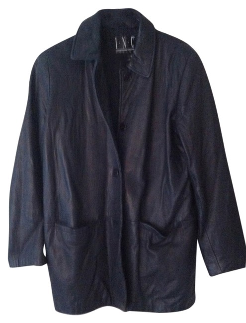 INC International Concepts Leather Leather Coat