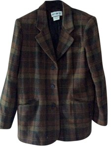 White Stag Wool Blend Brown Multi plaid Blazer