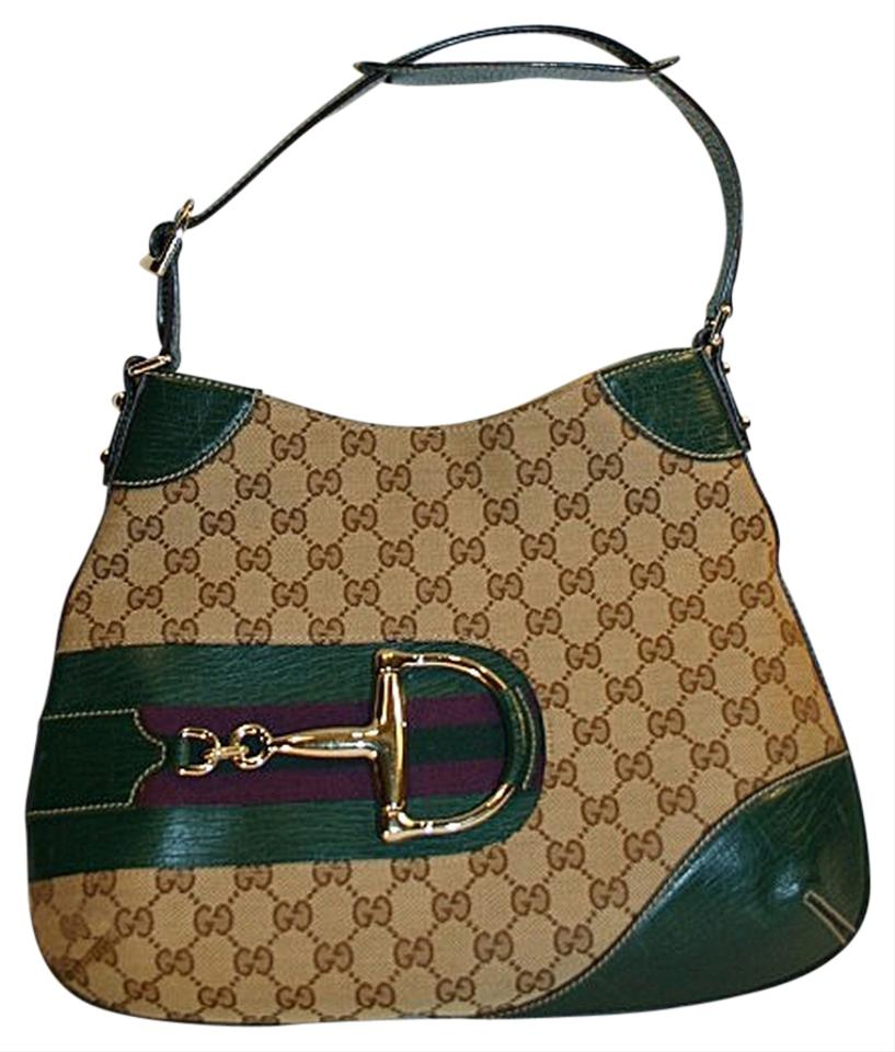 c93c24e7f Gucci Horsebit Hasler Shoulder Beige Ebony Monogram Canvas Hobo Bag