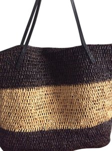 Michael Stars Beach Woven Straw Tote in Black/Tan