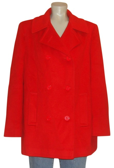 Item - Red L Vintage Wool Double Breasted Over Coat~l~ Coat Size 12 (L)