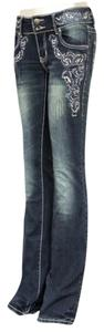 Montana West Stretchy Hip Hugger Denim Size 12 Western Cowboy Trinity Ranch The Treasured Hippie Hippy Trendy Unique Affordable Boot Cut Jeans