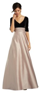 Alfred Angelo Black / Gold 7354l Modern Bridesmaid/Mob Dress Size 14 (L)