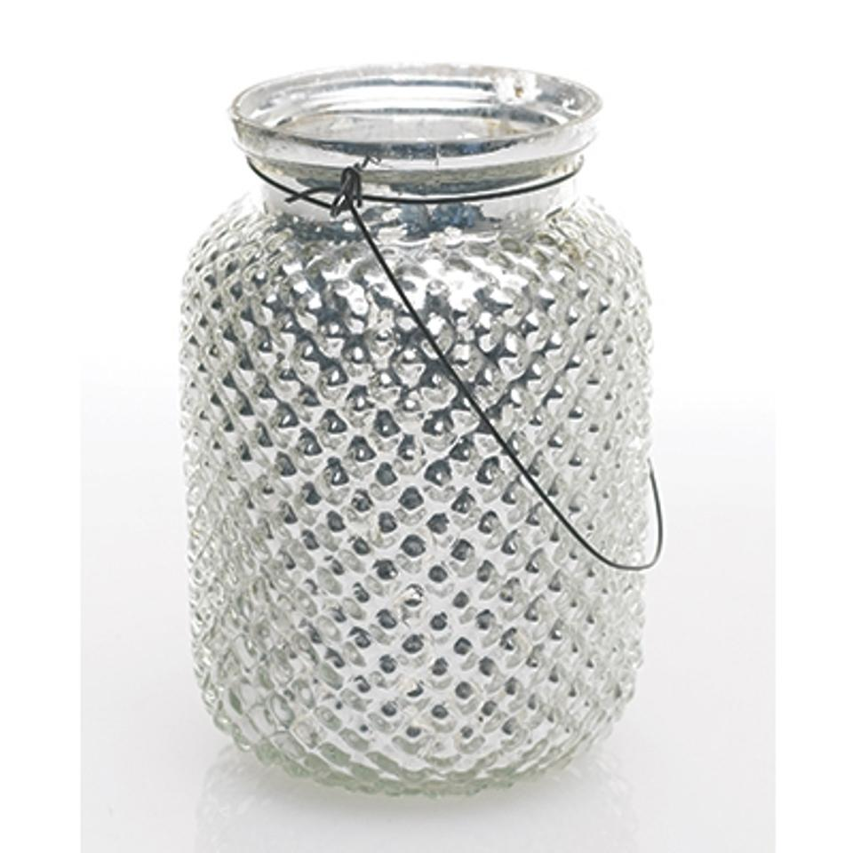 Mercury Glass / Silver Hanging Hobnail Jars In Centerpiece - Tradesy