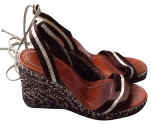 Marc Jacobs Brown and sparkly gold Wedges