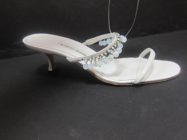 Item - White Beaded Strappy Formal Shoes Size US 8.5 Regular (M, B)