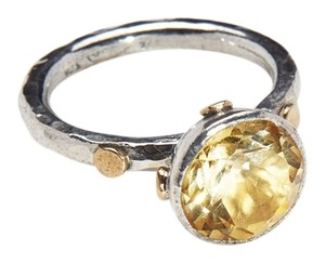 Condemned to Be Free Silver & 24k Gold Round Cut Yellow Citrine Ring