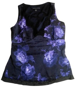 Banana Republic Silk Size 2 Black Top purple, black