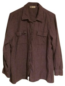 Faded Glory Button Down Shirt Purple/off-white