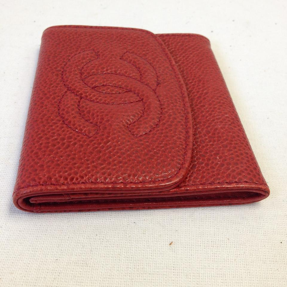 Chanel #6128 Timeless Cc Red Caviar Leather Flap Coin Card Holder ...