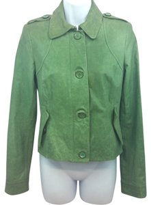 Rachel Zoe Green Distressed Leather Jacket
