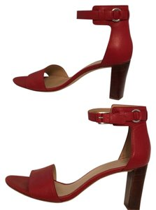 Via Spiga Leather Ankle Strap Stacked Heel Red Sandals