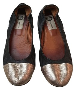 Lanvin Ballet Two-tone Black w/Metallic Flats