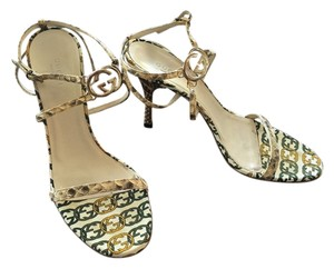 Gucci Leather Strappy Neutral snake Sandals