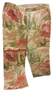 Jones New York Petite Linen Capris tan floral