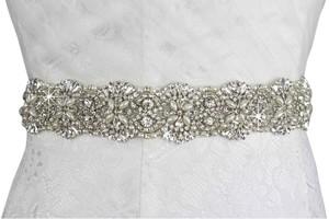 New Crystals And Pearls White Sash
