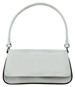 Prada Logo Silver Hardware Satchel in White