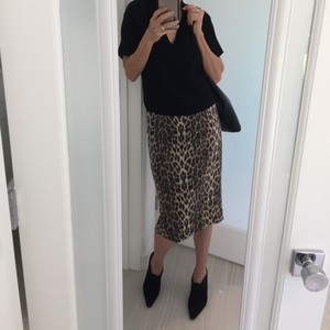 Badgley Mischka Print Midi Pencil Black Brown Skirt Animal