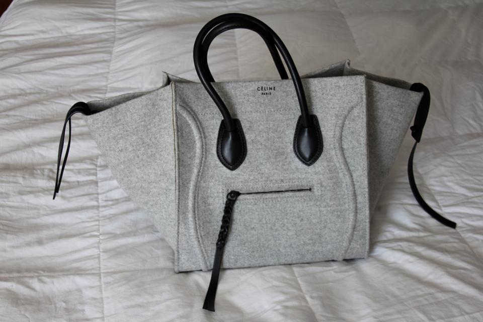 buy celine phantom bag - C��line Felt Phantom Black Leather Luggage Gray Tote Bag on Sale ...