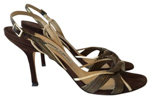Jimmy Choo Brown and gold Pumps