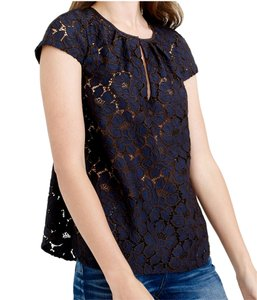 J.Crew Cap Sleeves Keyhole Lace Top Navy Black