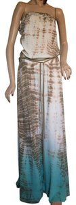 Off white, taupe, turquoise tie-dye print Maxi Dress by Gypsy05