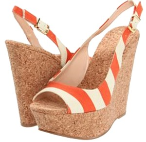 Jessica Simpson Gameday Cork Orange and White Wedges