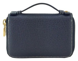 Loro Piana Loro Piana Black Leather Mini Pochette Zipper Wallet