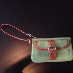 Coach Wristlet in Green And Brown