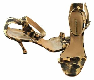 Manolo Blahnik Crystal Leopard Neutral Multi Sandals