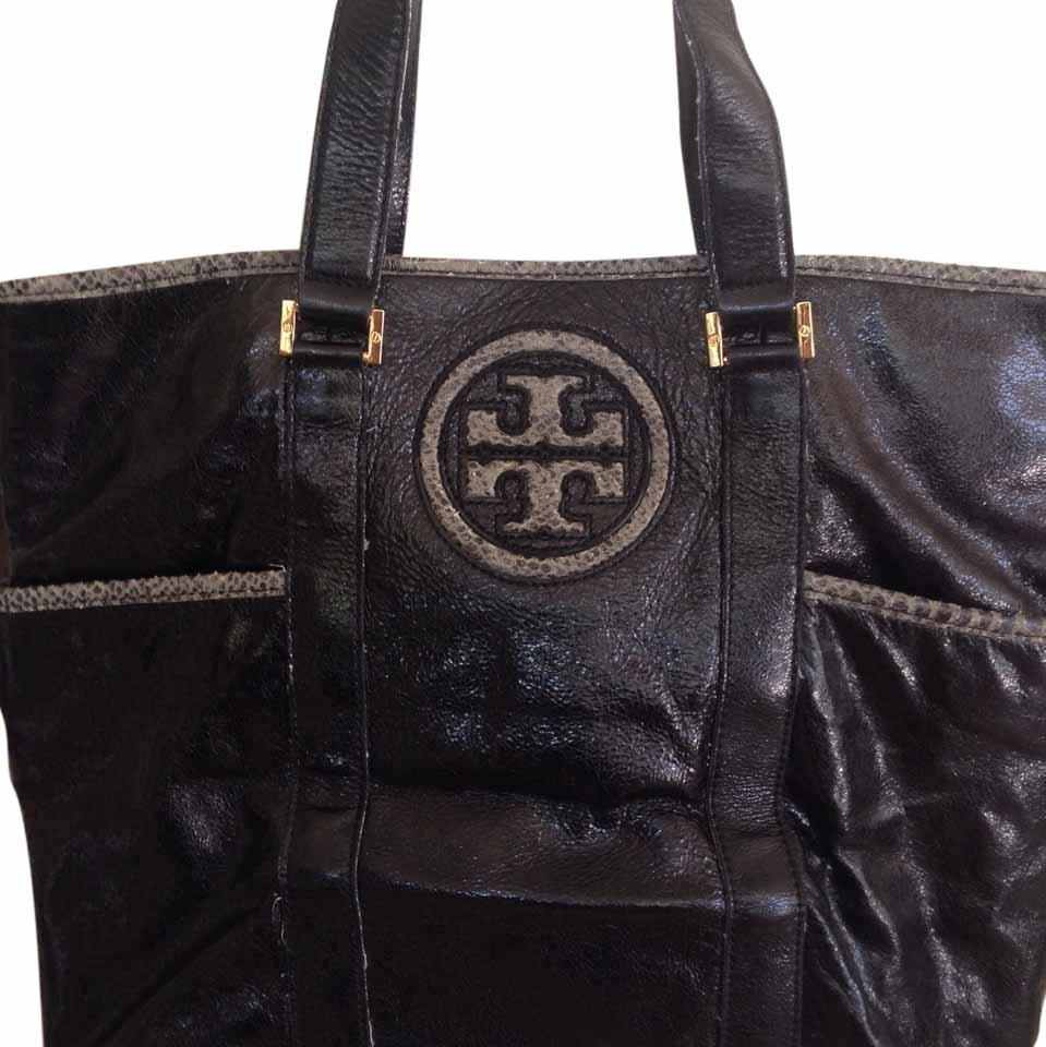 Tory Burch Leather Python Vintage Tote In Black