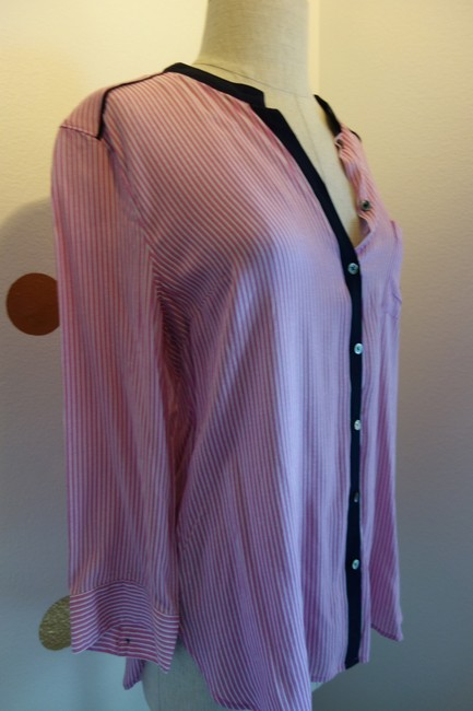 Anthropologie Maeve Maeve Stripes Initial Shirt Initial S S Chic Top Pink Navy