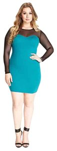 Forever 21 Bodycon Plus-size Mesh Color-blocking Mini Dress