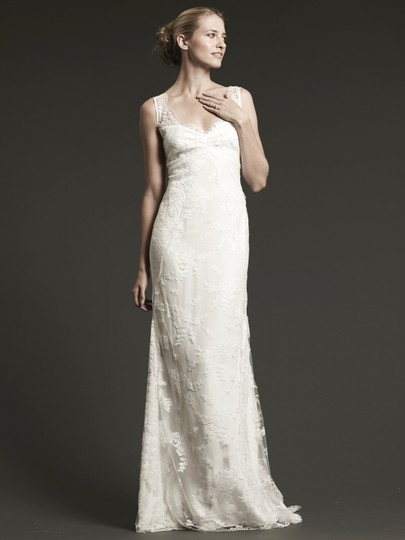 Nicole Miller Ivory Chantilly Lace Brooke Sleeveless Trumpet Gown Feminine Wedding Dress Size 6 (S)
