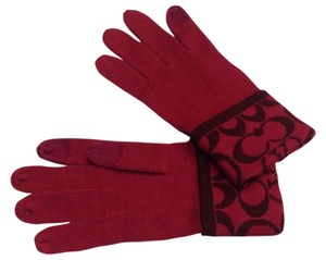 Coach New Coach Signature Red Gloves