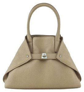 Akris Silver Hardware Leather Tote in Beige