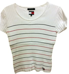 Tommy Hilfiger Ribbed Cotton T Shirt White with red/blue stripe