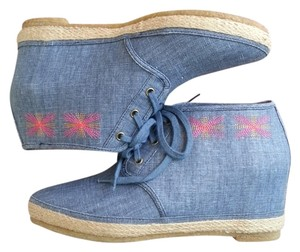 80%20 Chambray Indigo Sneaker blue Wedges