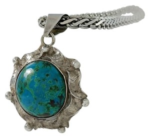 Other Round Turquoise Rippled Pendant Necklace - 23