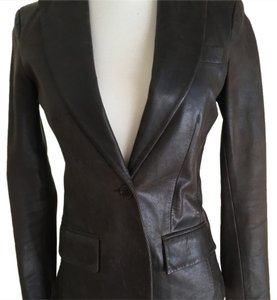 Theory Chocolate Brown Leather Jacket