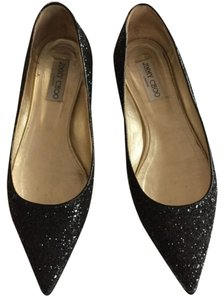 Jimmy Choo Glitter Pointe Toe Black Flats
