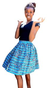 Chic Therapy African Skirt Blue Multi-Color print
