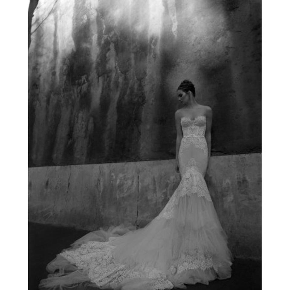 d999089b76b14 Inbal Dror White Lace and Tulle Fishtail Strapless Sexy Wedding Dress