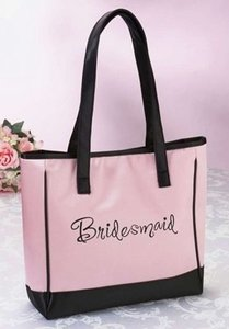 Pink and Black Bridesmaid Tote Bag - Free Shipping