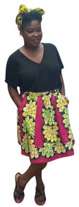 Chic Therapy African Skirt Red/Yellow Multi-Color print