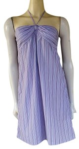 Ann Taylor LOFT short dress Lilac Halter Cotton Blend Striped on Tradesy