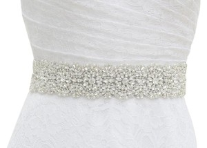 New Bridal Sash In Color White Pearls And Crystals